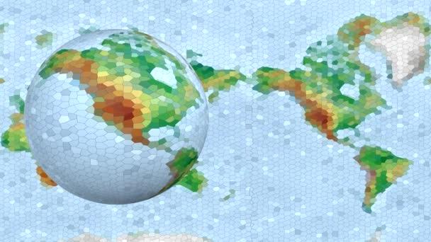 Egy alacsony poly bolygó kontinensek és tengerek forog a tengelye körül, kódolva egy 3D-s program.