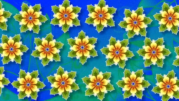 Abstract high-quality animated background with painted flowers and leaves with embossing and imitation under the paper in horizontal movement and rotation.