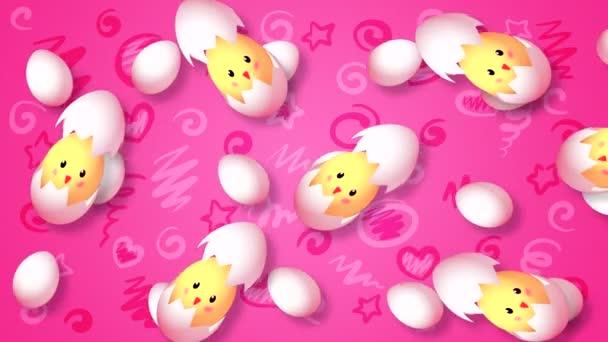 Abstraktní pozadí s vejci létající vodorovně zleva doprava s otvorem skořápky na barevném malovaném pozadí s prvky z 3D programu.