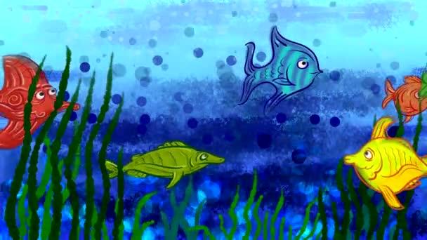 Gezeichnete Fische im Stil einer Kinderwelle schwimmen vor dem Hintergrund des blauen Meeres und der Algen. Looping-Animation mit lustigen Tieren.