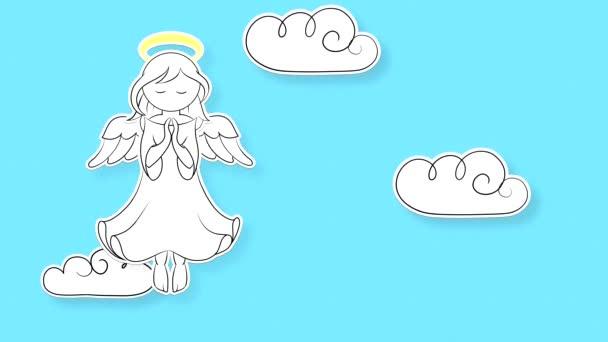Kreslený anděl létá po modré obloze na plavební dráze s mraky stylizovanými jako papírová struktura. Smyčka videa s plochým obrazem cheruba se svatozáří přes hlavu v bílých šatech.