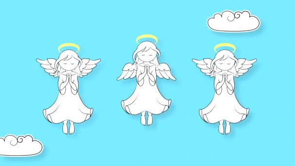 Tři andělé s křídly a svatozář létat na obloze s mraky. Animace smyčky s opakováním bez problémů.