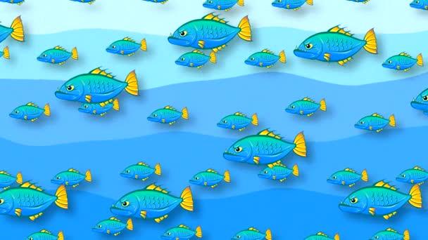Hosszú fogú kék halrajok úsznak a kék hullámok hátterében faragatlan utánzattal. Absztrakt felvétel rajzolt állatokkal, lapos stílusban.