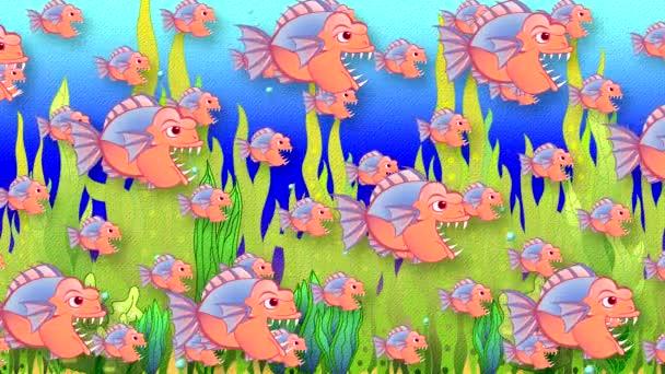 Abstrakter animierter Hintergrund mit gemalten Raubfischen im Wasser mit Grünalgen-Imitat aus Papier und einer einfachen Zeichnung.