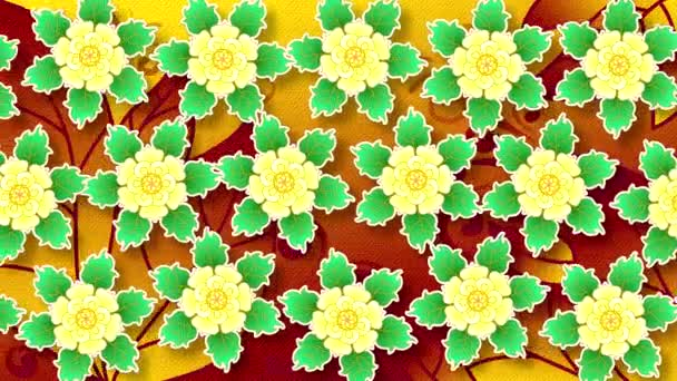 Abstract animated flat background of painted flowers in horizontal movement . Imitation of embossed paper. Yellow flowers with leaves with a symmetrical arrangement and shadows on the surface.