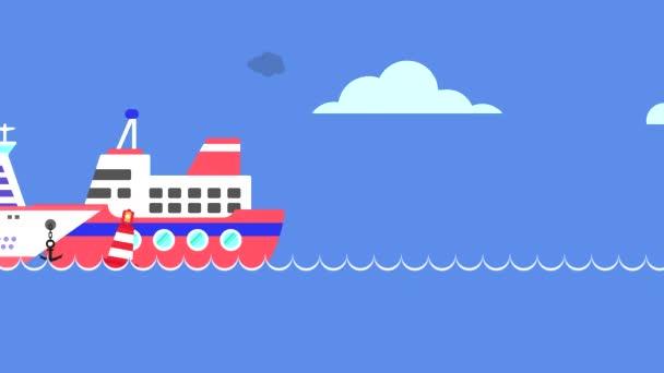 Ein Schiff und ein Kreuzfahrtschiff fahren über das Meer und geben Rauch aus dem Schornstein ab, und ein Hubschrauber fliegt horizontal. Looping-Video mit Meer, Sonne und Wolken in Bewegung.