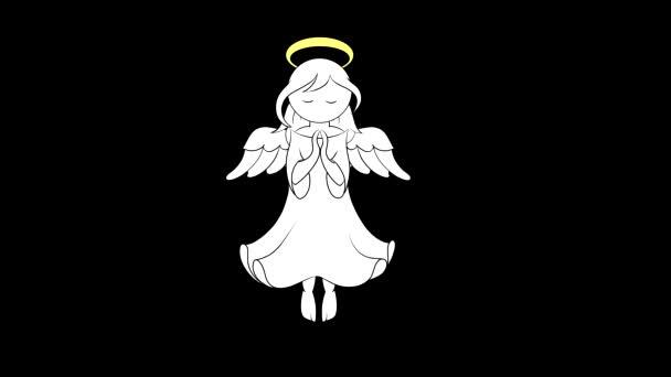 Tasený stylizovaný anděl s pohyblivými křídly a svatozáří nad hlavou visí ve vesmíru s rukama složenýma v modlitbě. Animační video s černobílou maskou jasu pro řezání pozadí.