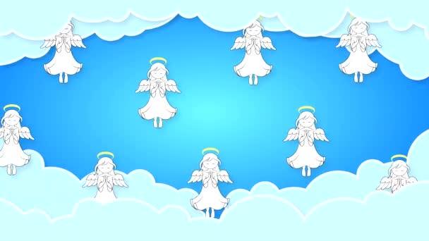 Kreslení andělé s křídly létají v mracích proti modré obloze vodorovně. Abstraktní animace na náboženské téma ve vysoké kvalitě 4K.