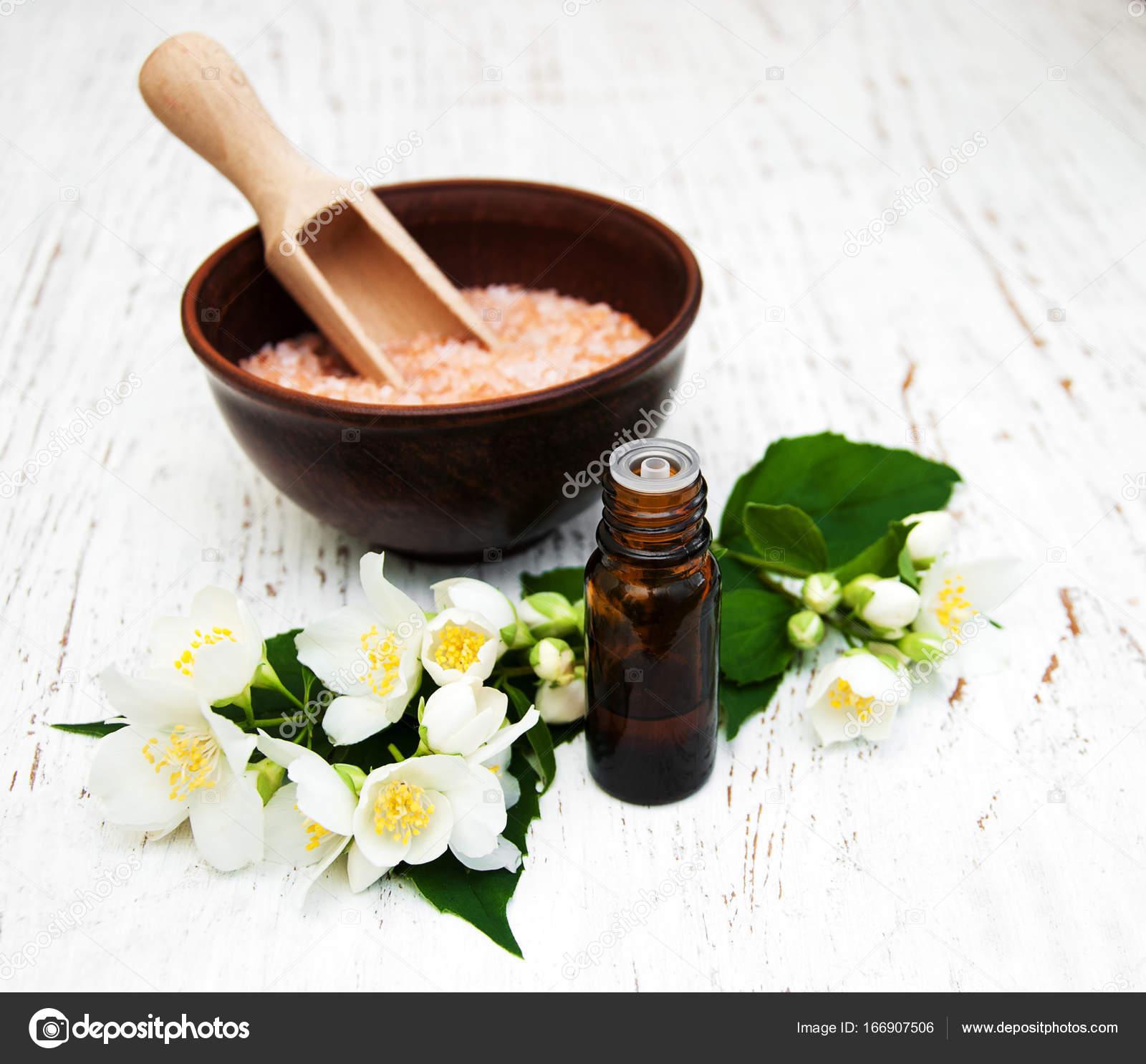 Essential Oil With Jasmine Flower Stock Photo Almaje 166907506