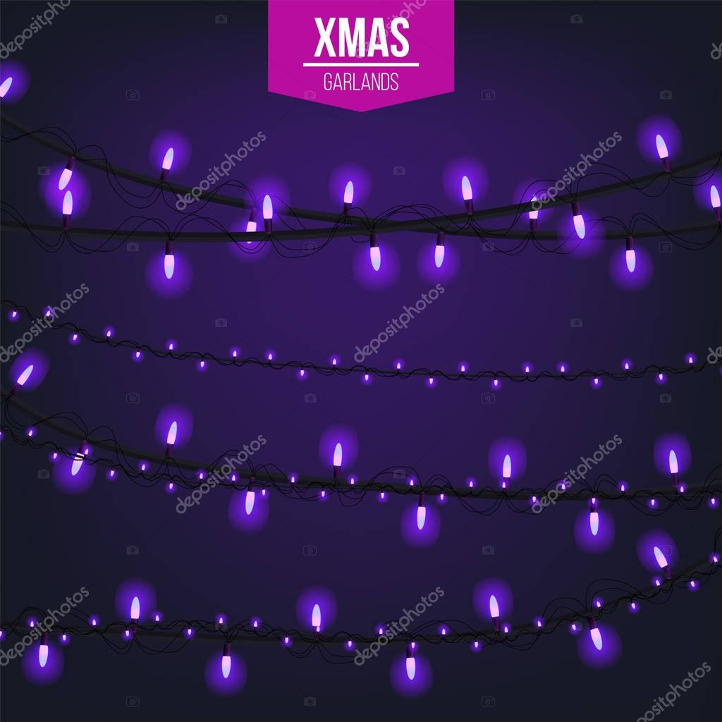 Abstract creative christmas garland light isolated on background. template. Vector illustration clipart art for Xmas holiday decoration. Concept design element. Realistic luminous bulb. Glow lamp