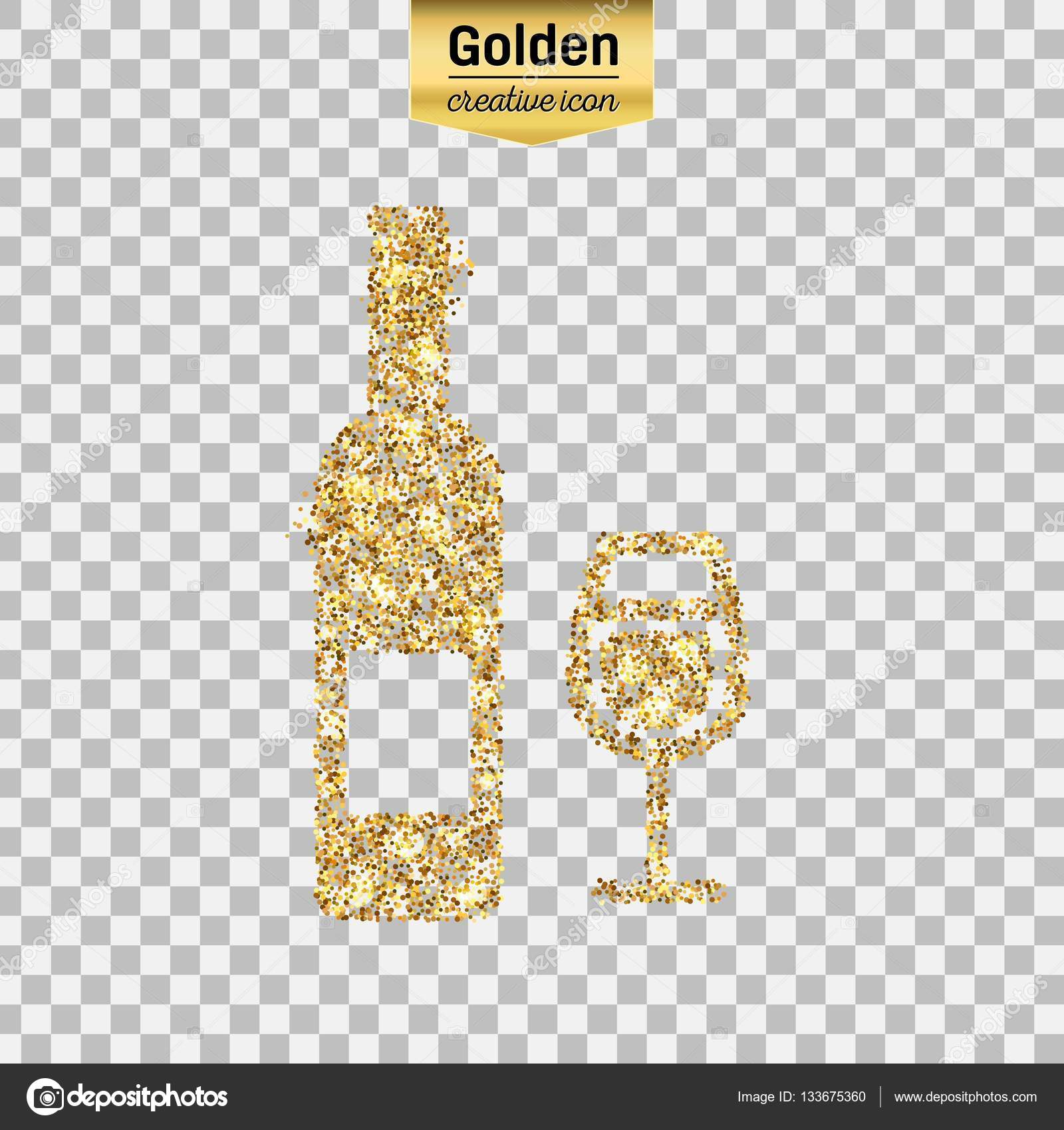 2d23ad897df Gold glitter vector icon of wine bottle isolated on background. Art  creative concept illustration for web