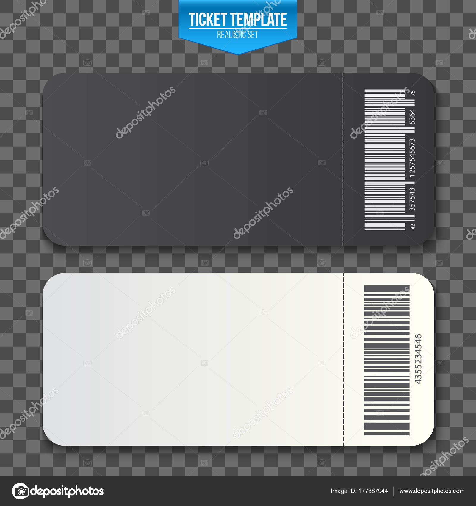 Kreative Vektor Illustration Von Leeren Ticket Vorlage Mockup Set ...