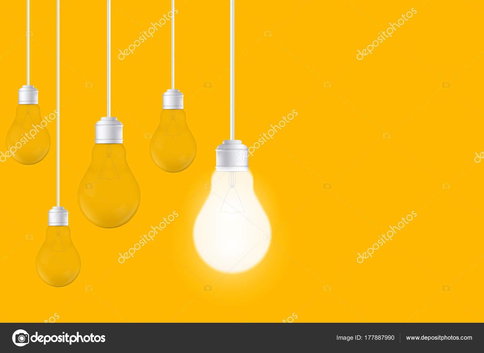 Creative vector isolated light bulbs yellow background art design