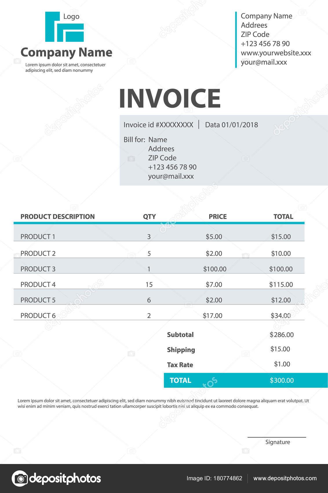 plantilla de formulario de factura — Archivo Imágenes Vectoriales ...