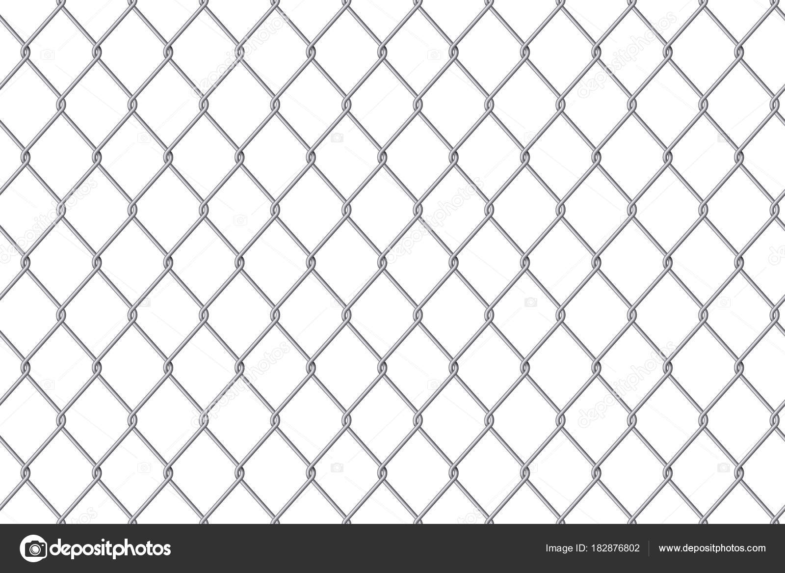Creative vector illustration of chain link fence wire mesh steel ...