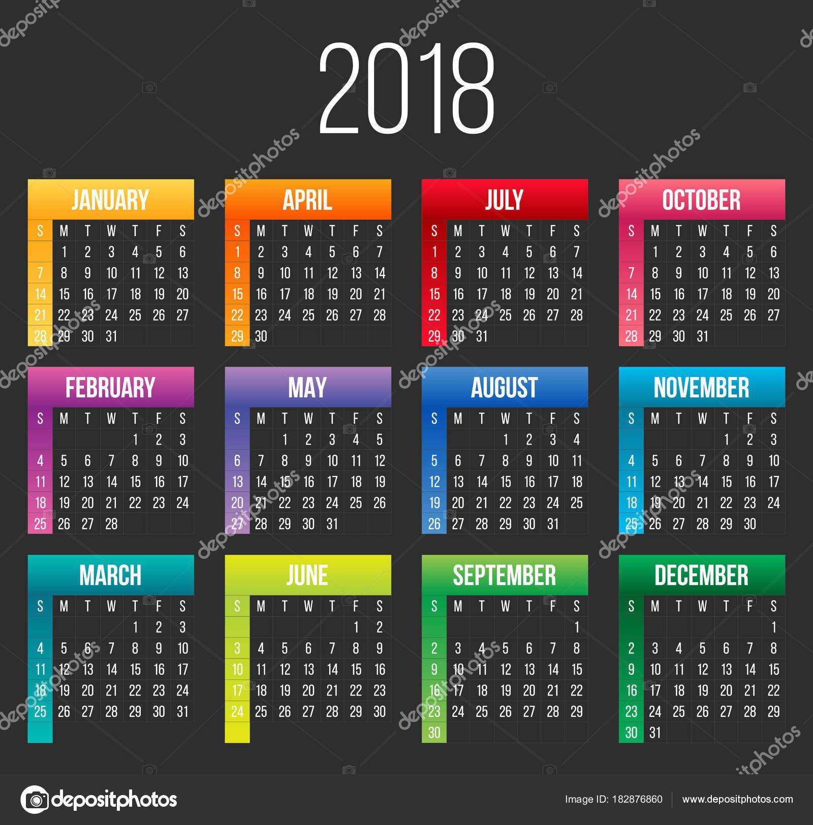 Kreative Vektor-Illustration von 2018 bunten Jahreskalender auf ...