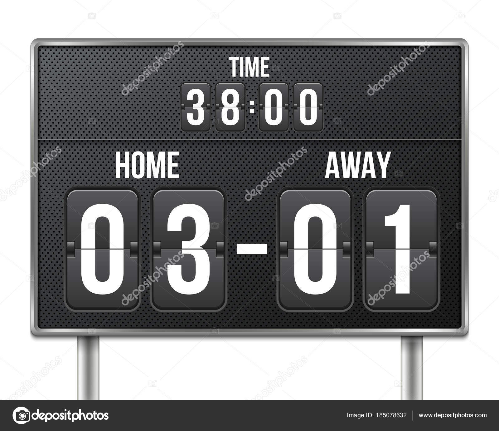 Creative Vector Illustration Of Soccer Football Mechanical Scoreboard Isolated On Transparent Background Art Design Retro Vintage Countdown With Time