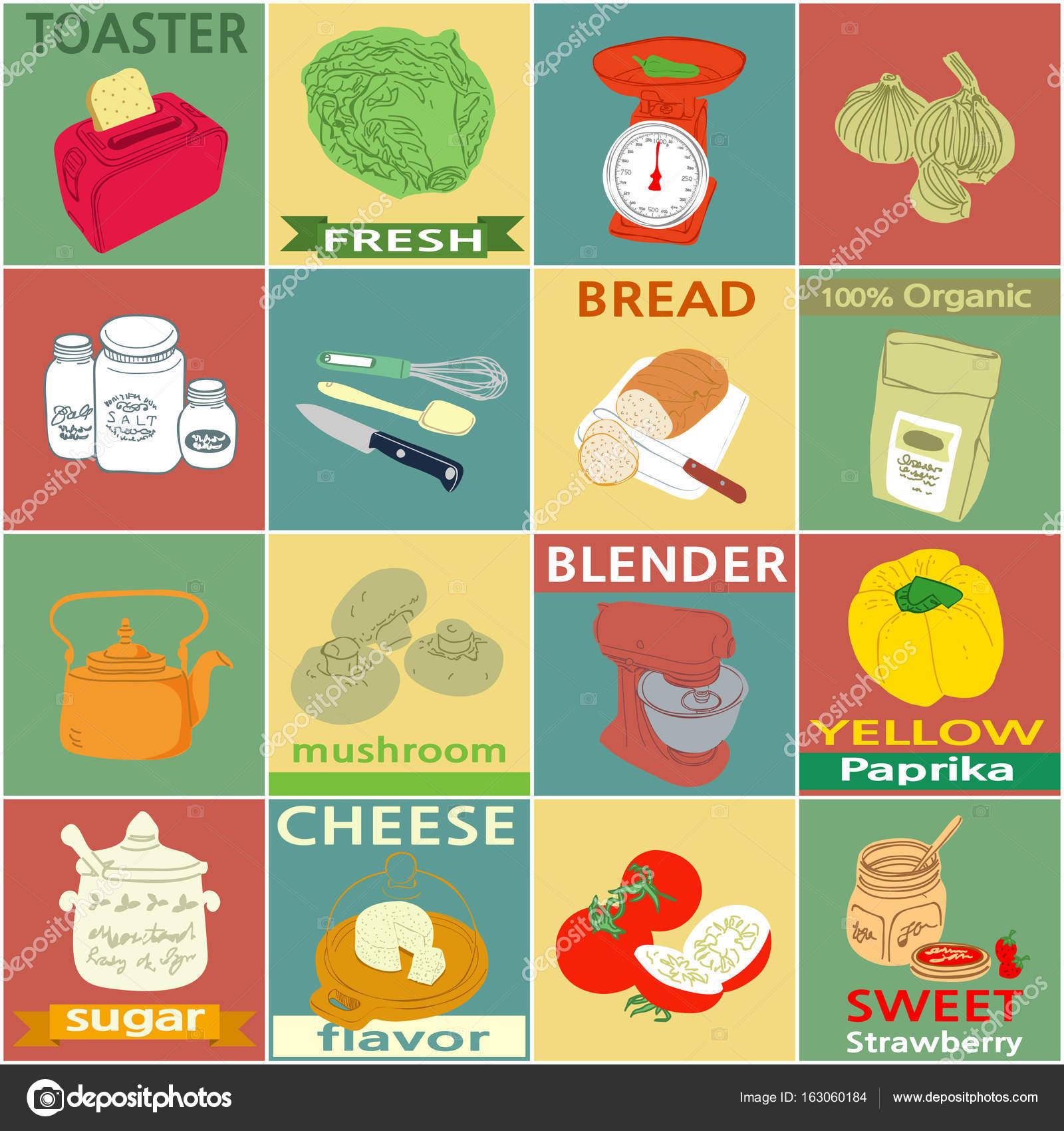 Vintage Küche Elemente Etiketten — Stockvektor © seesawname #163060184