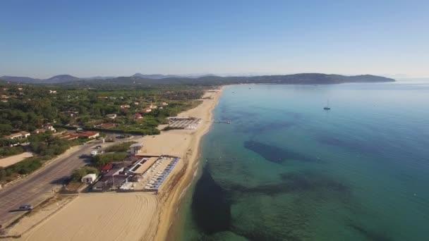 Saint Tropez Luchtfoto Van Strand Van Pampelonne Stockvideo