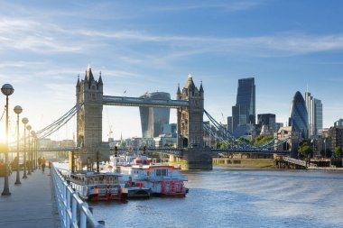 London, view on the financial district and Tower bridge