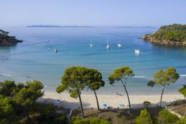 Aerial view of Cap Leoube and estagnol beach located near Bormes les mimosas in Var department, south of France