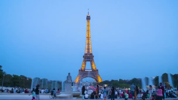 France, Paris, Timelapse View of Eiffel tower from Trocadero at dusk