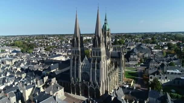 Bayeux, Aerial view of medieval Cathedral of Notre Dame, Calvados department of Normandy, France