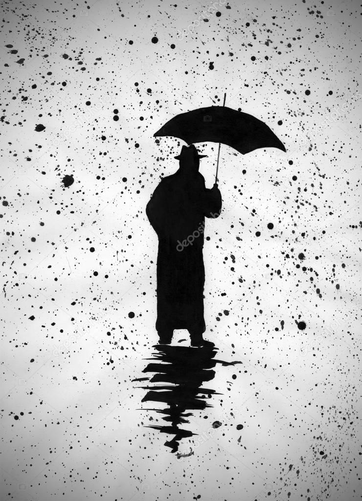 Картинка человека стоящего спиной под зонтом фонда