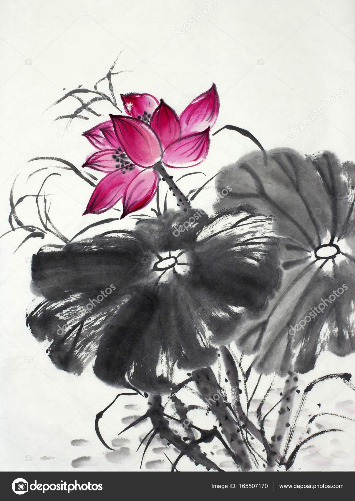 Bright lotus flower stock photo nikolai2 165507170 bright lotus flower painted in chinese style photo by nikolai2 izmirmasajfo