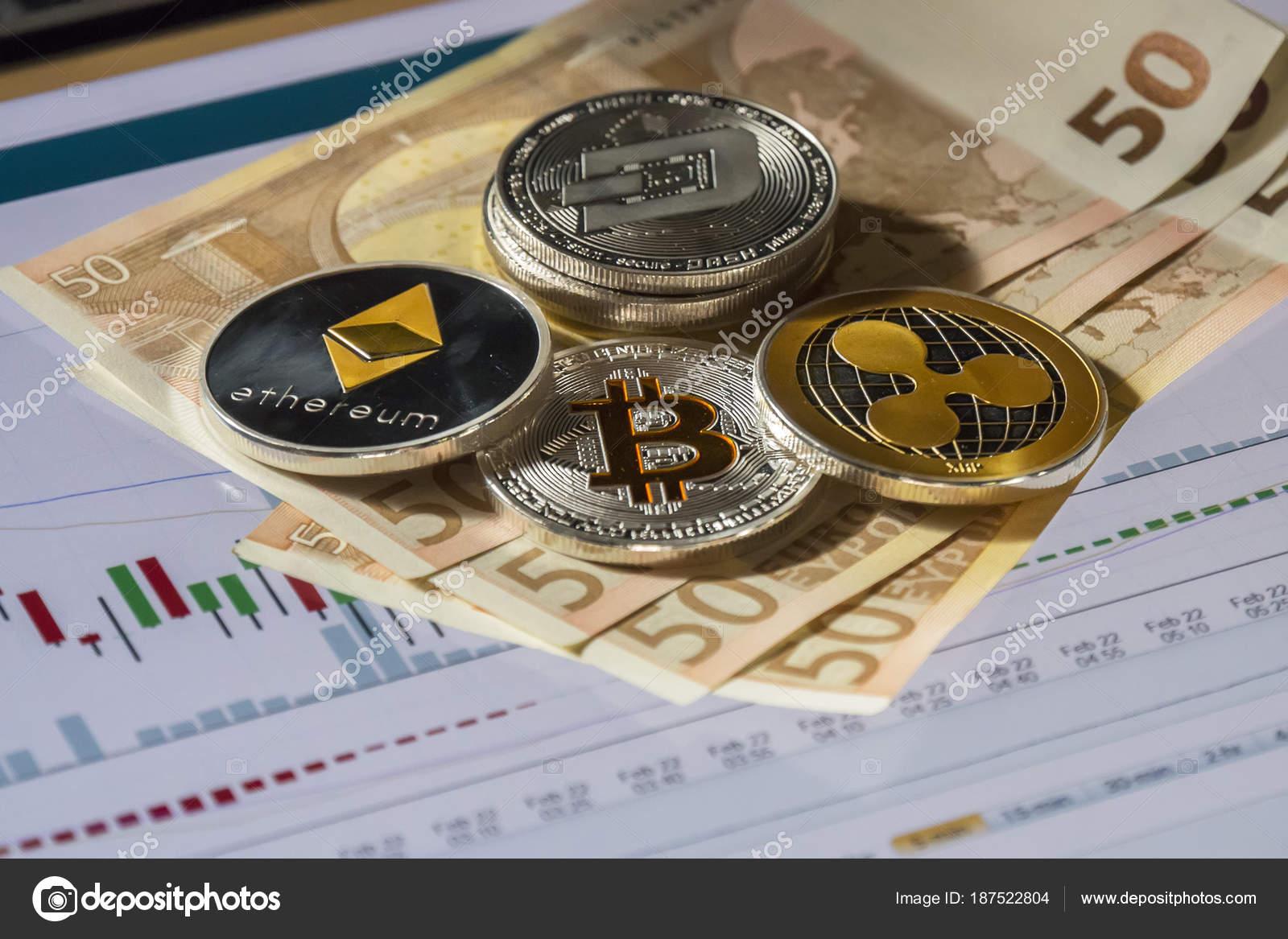 Kryptowährung Münzen über Kaufen Und Verkaufen Handel Grafik