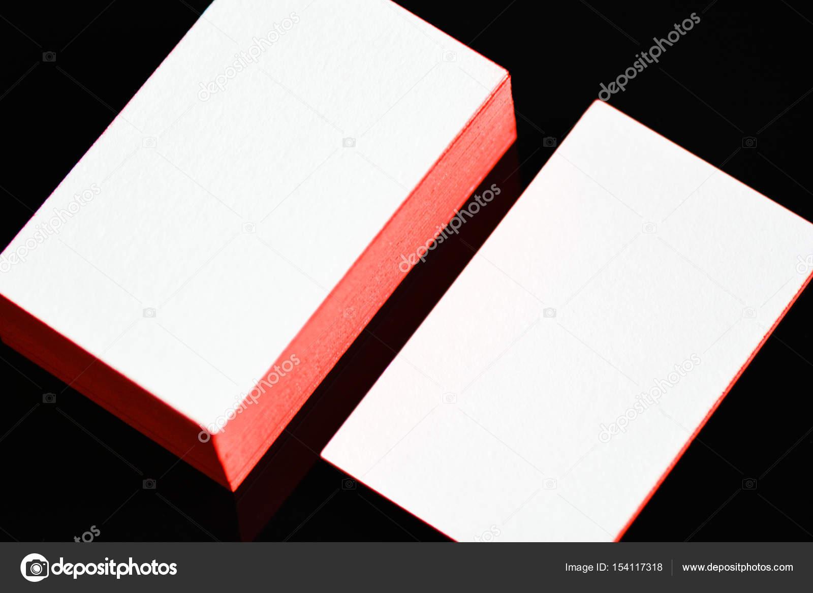 Dicke Weiße Baumwolle Papier Visitenkarte Mock Up Mit Rot