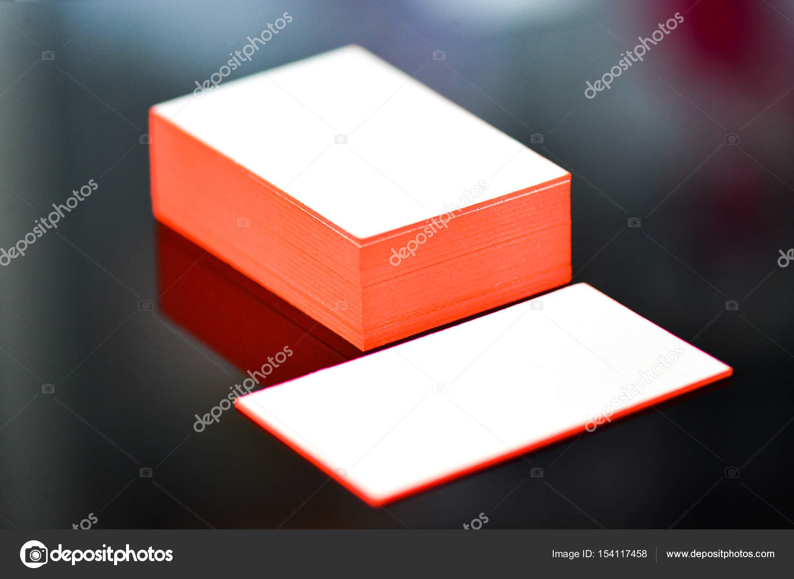 Thick White Cotton Paper Business Card Mock Up With Red Painted