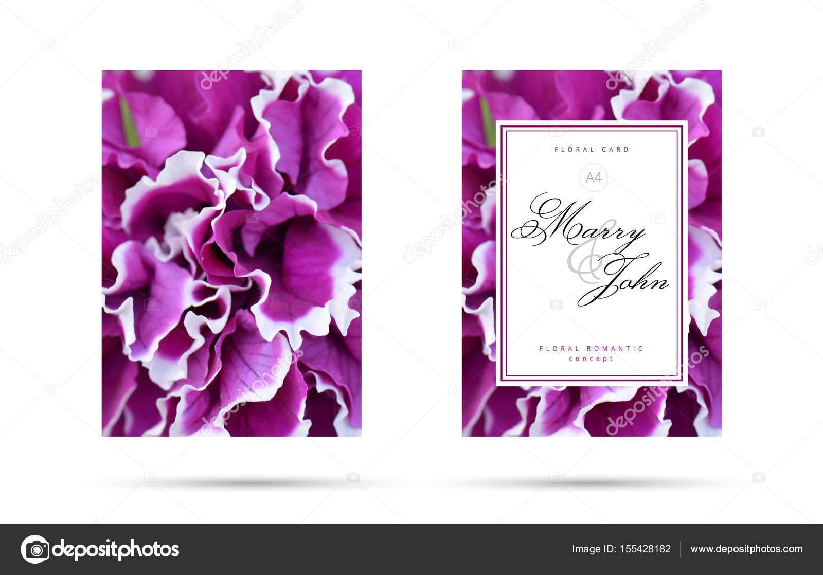 Fuchsia and purple wedding | Purple fuchsia floral card for wedding  invitation. Floral Romantic Flower background concept for your flyer  design. — Stock Photo © trimailova #155428182