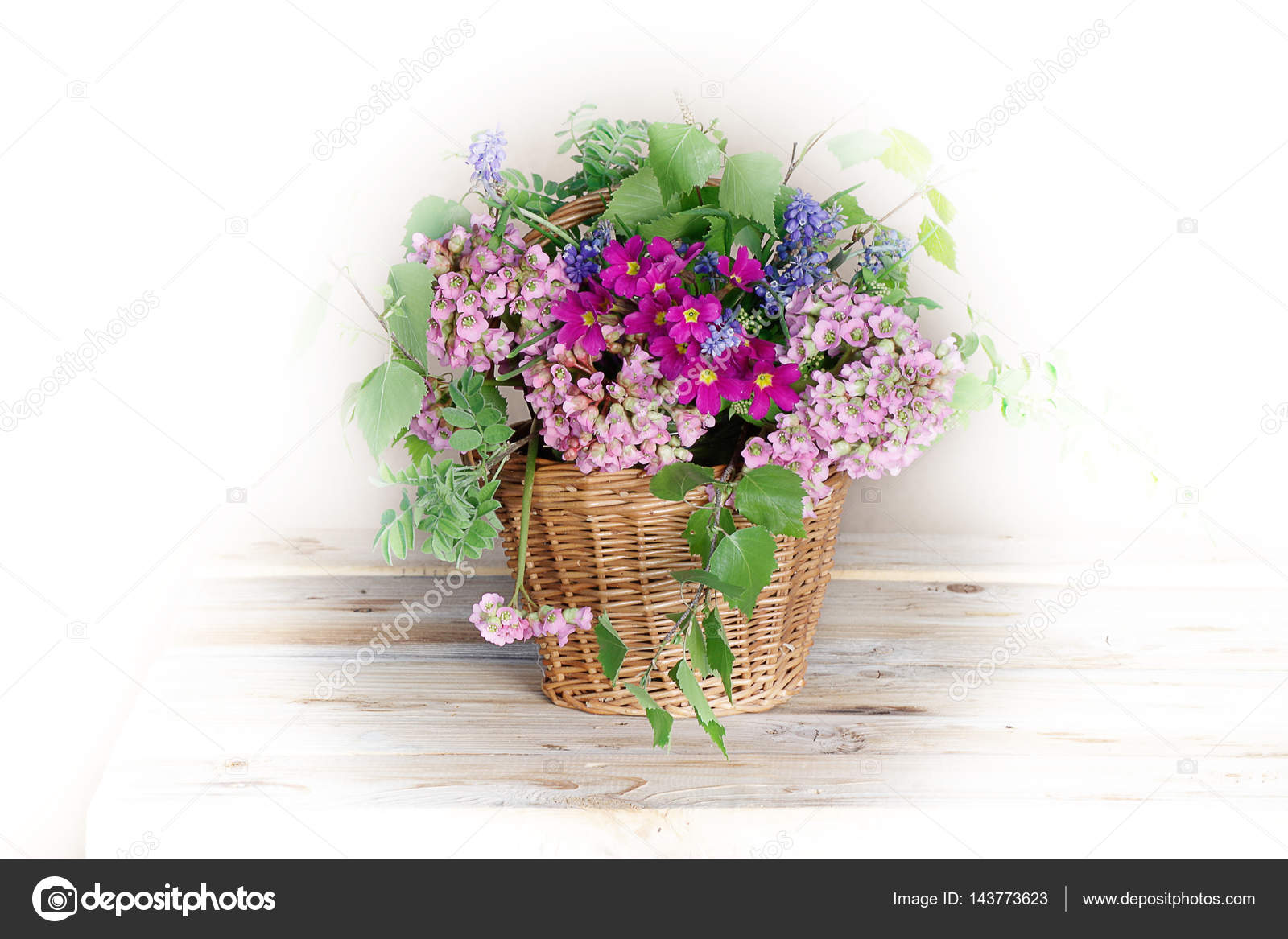 Spring Pink Flowers In Basket Stock Photo Alvera 143773623