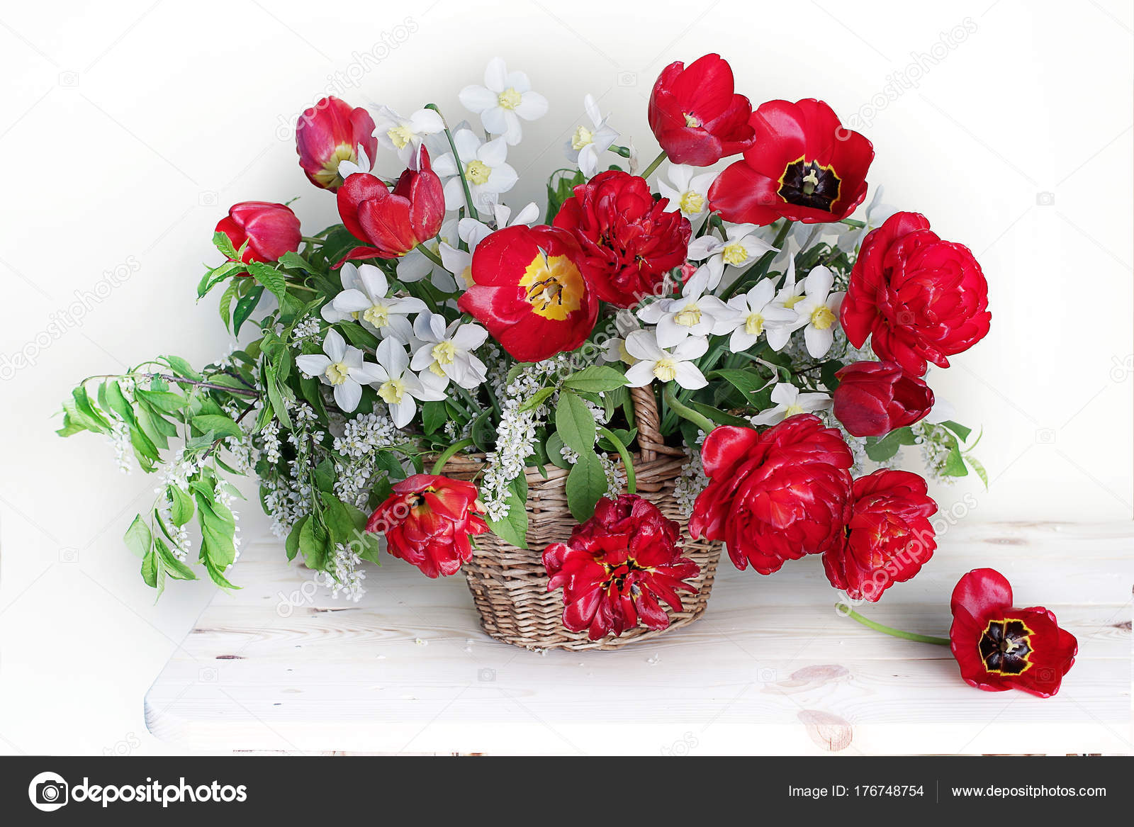 Beautiful Bouquet Spring Flowers Basket Still Life Red Tulips