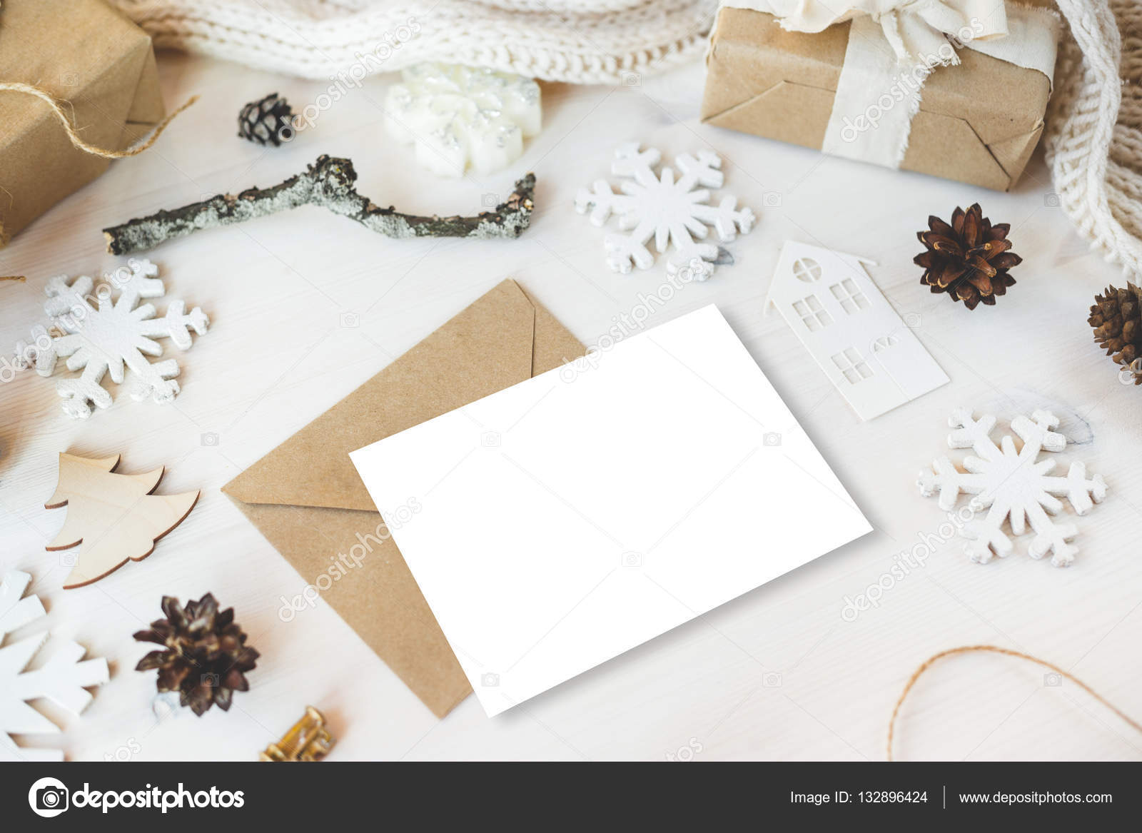 Cute vintage christmas new year gifts mock up — Stock Photo ...