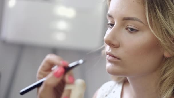 Makeup artist applying cosmetics on clients face in salon