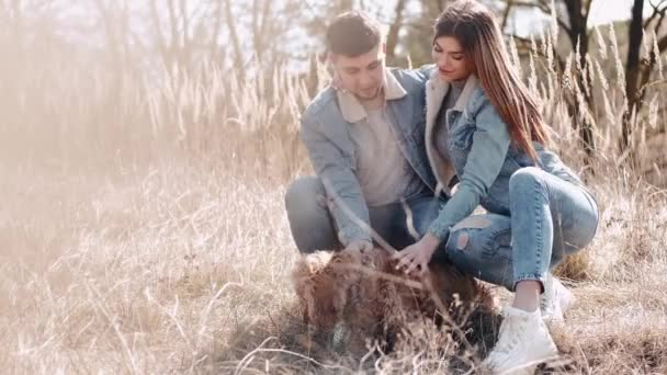 The loving couple is sitting with a dog and smiling in the wheat field