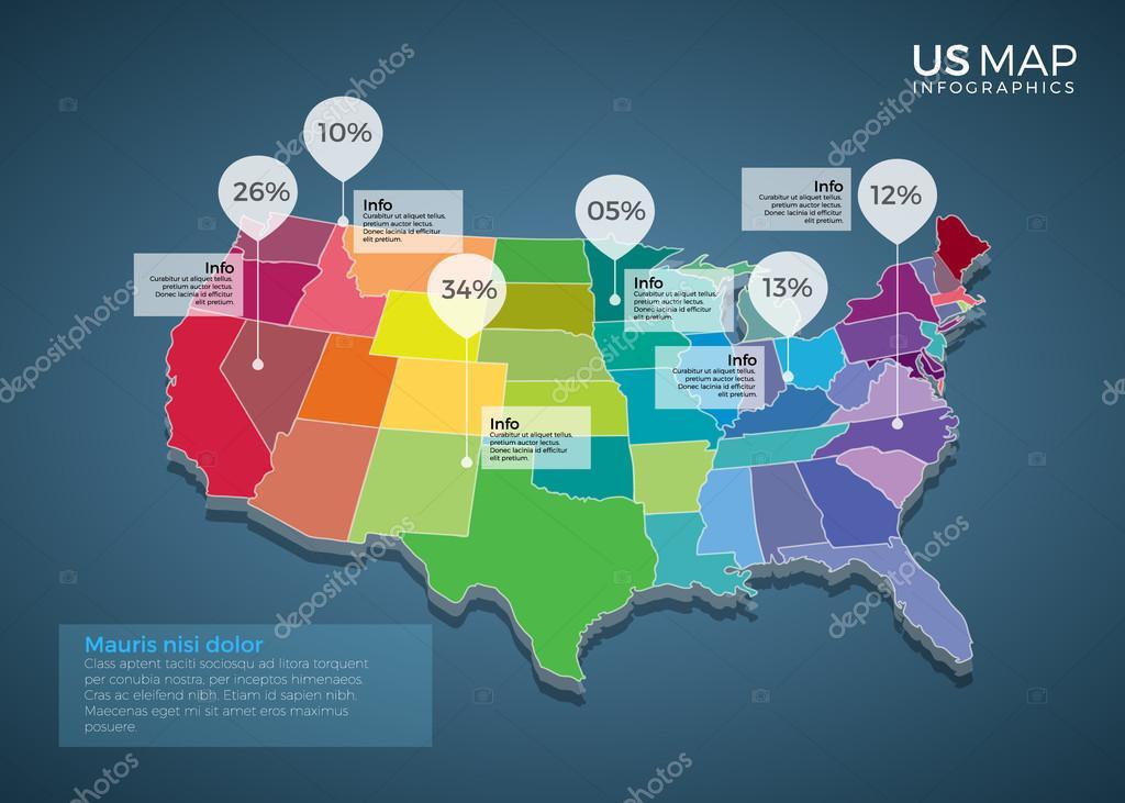 us map infographics element template illustration design stock vector