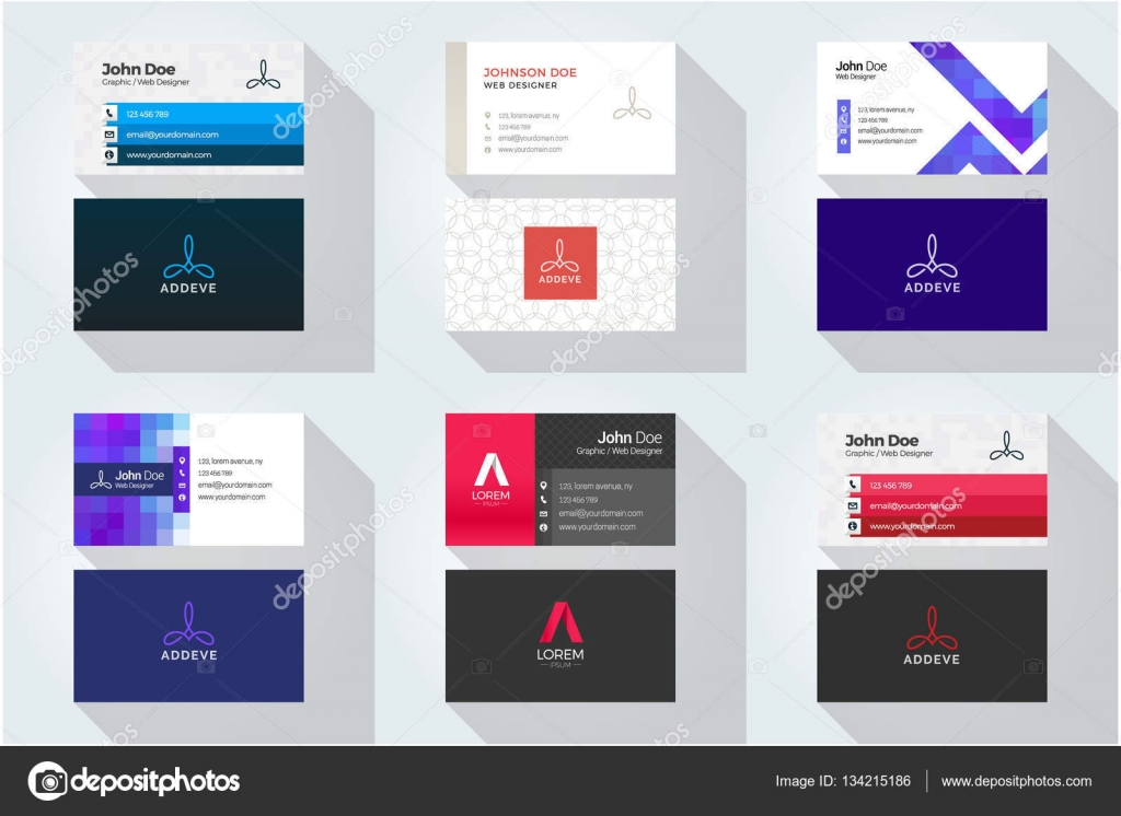 Corporate business card set with abstract logo — Stock Vector ...