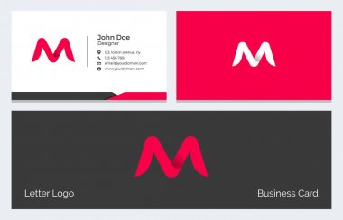 M Letter Corporate Minimal Business Card with Modern Abstract Alphabet logo in red