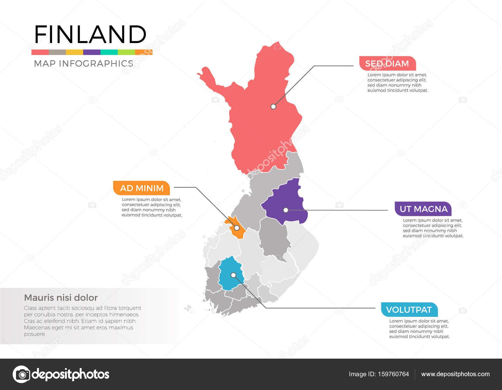Finnland Karte Regionen.Finnland Karte Mit Zeiger Marken Und Regionen Stockvektor