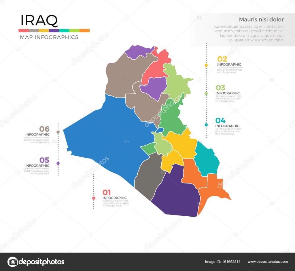 plantilla de vector color iraq pas mapa infogrfico con regiones y marcas de puntero vector de pixar