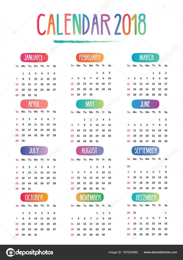 Calendario Con Week 2018.2018 Calendar Doodle Drawing Vector With Week Starting On