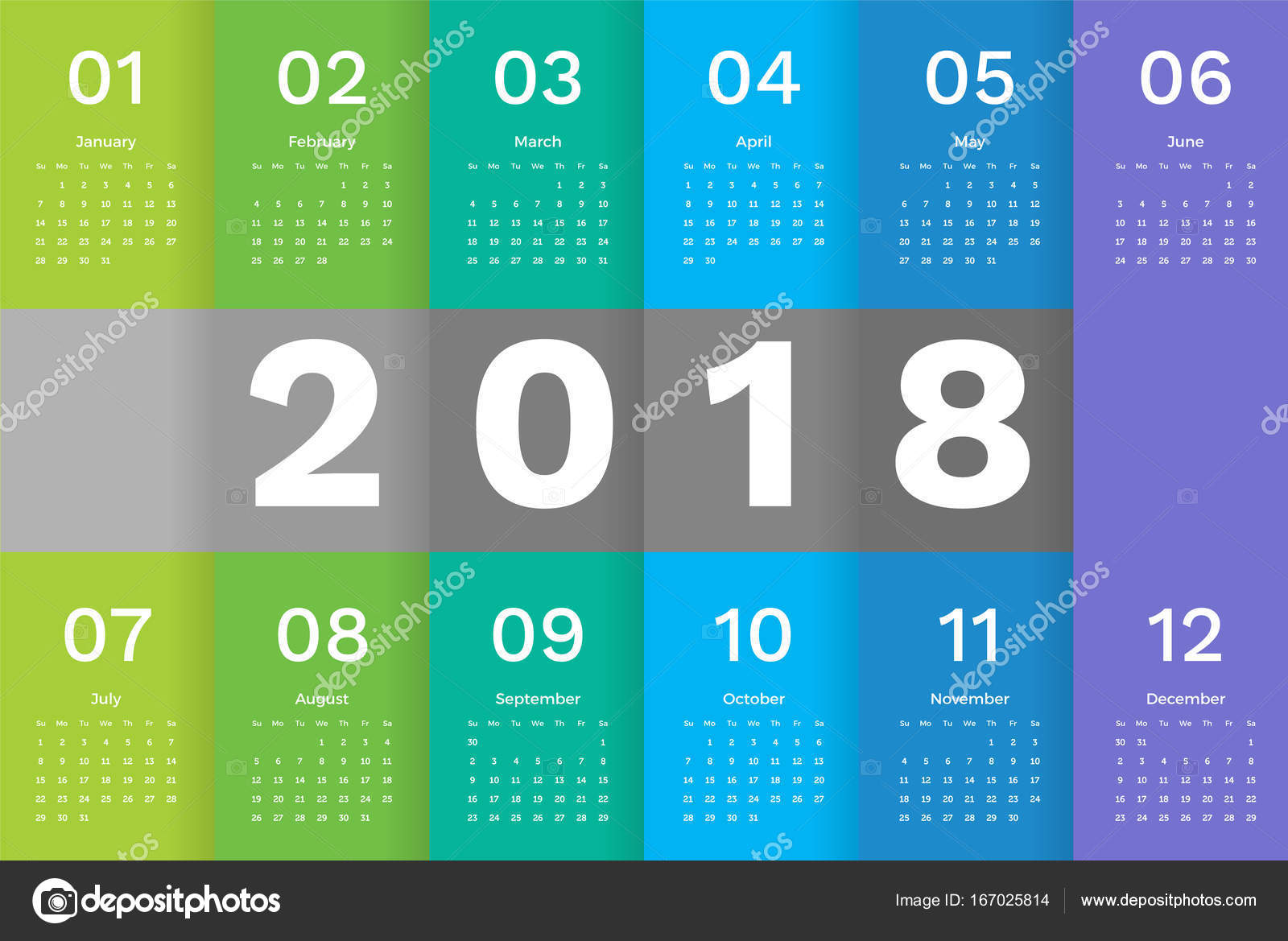 2018 calendar template simple minimal calendar template design with week starting sunday in green blue