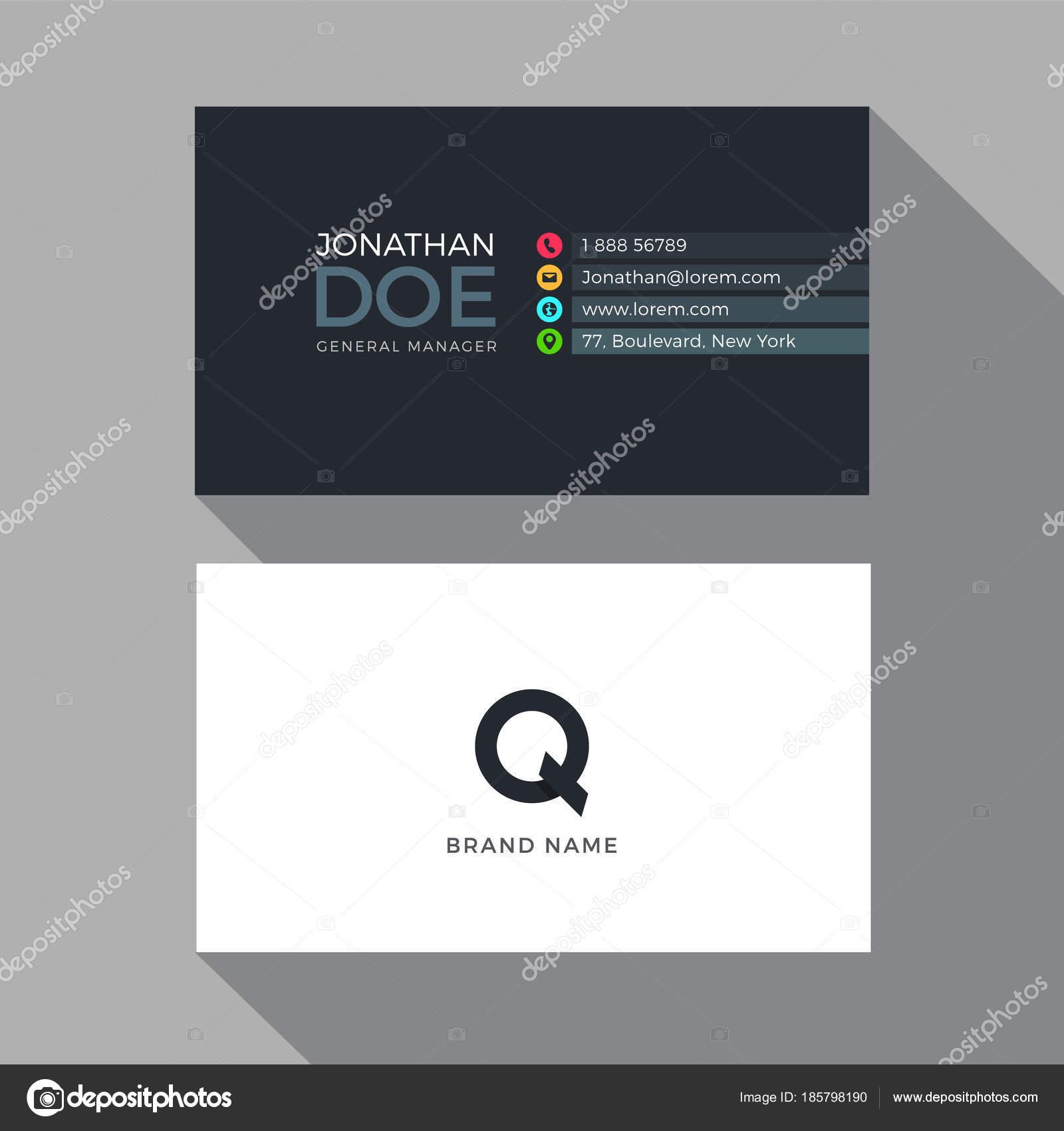 Plantilla Diseño Tarjeta Visita Moderno Alfabeto Letra — Archivo ...