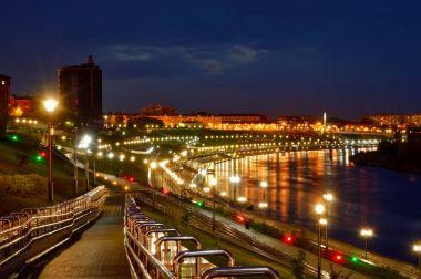 Night lights on embankment of Tyumen