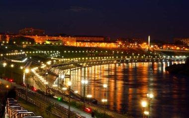 Night view of the embankment Tyumen