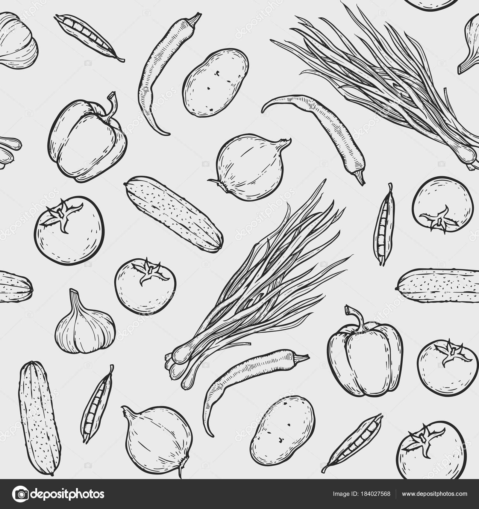 patrón sin costuras de verduras — Archivo Imágenes Vectoriales ...