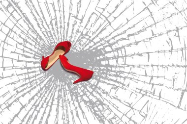 red shoes, fragments of broken glass